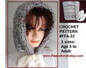 Crochet PATTERN, Ribbon Tied Hood, women and childrens hats, instant download, pdf tutorial, handmade pattern num. FFA 33,