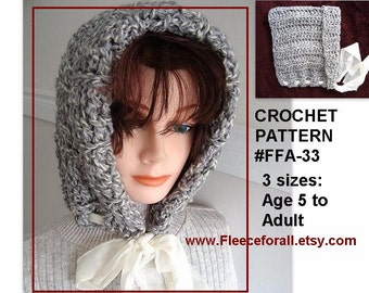 Crochet PATTERN, Ribbon Tied Hood, women and childrens hats, instant download, pdf tutorial, handmade pattern num. FFA 33,
