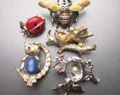Vintage Figural Brooches Bee Brooch Bird in Nests Ladybug Pin Owl Brooch