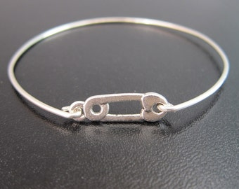 Safety Pin Bracelet, Silver Safety Pin Bangle Bracelet, Safety Pin Jewelry