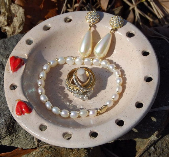 Valentine's Day / Earring Bowl / Ring Dish / Bowl / Ring Holder / Jewelry Holder /  READY TO SHIP Handmade by Big Dog Pots bigdogpots