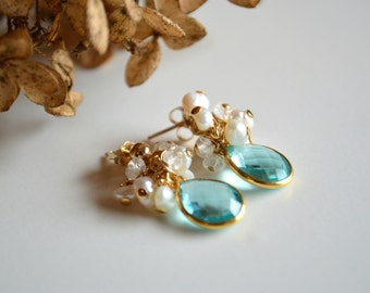 Blue topaz, pearl and moonstone gold dangle earrings, bridal jewelry, wedding jewelry