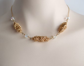 Gold and crystal twisted bead necklace, gold necklace, gold statement necklace, crystal necklace, gold jewelry, free shipping