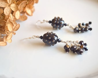 Black and brown lampwork and crystal chandelier earrings