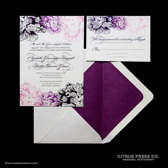 Chrysanthemum Wedding Invitation, Peony, Traditional, Classic, Purple, Pink