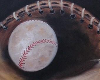 baseball oil painting softball sports sport ball mitt glove USA American game athlete original brown canvas wall art 12x12 - Between Innings