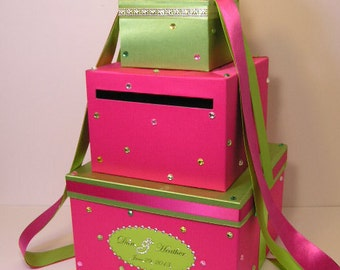 Wedding Card Box Hot pink(shocking pink) and Lime green Sweet 16 Gift Card Box Money Box  Holder  --Customize your color
