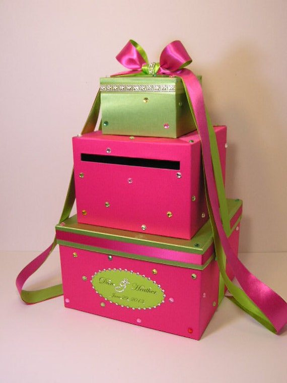 Hot pink(shock pink) and Lime green Wedding Card Box Sweet 16 Gift Card Box Money Box  Holder  --Customize your color
