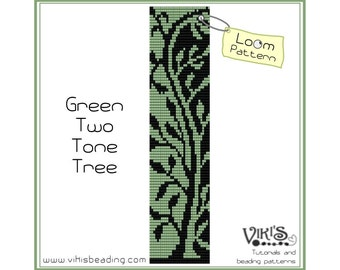 Loom pattern for bracelet: Green Two Tone Tree - INSTANT DOWNLOAD pdf - Multibuy savings with coupon codes- bl22