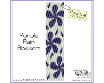 Peyote Stitch Pattern: Purple Rain Blossom - INSTANT DOWNLOAD pdf -Discount codes are available - bp58