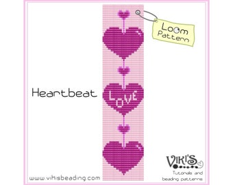 Loom Beading Pattern - Heartbeat -  INSTANT DOWNLOAD pdf -Discount codes are available