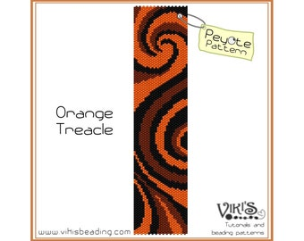 Peyote Bracelet Pattern: Orange Treacle  - INSTANT DOWNLOAD pdf - New Discount codes