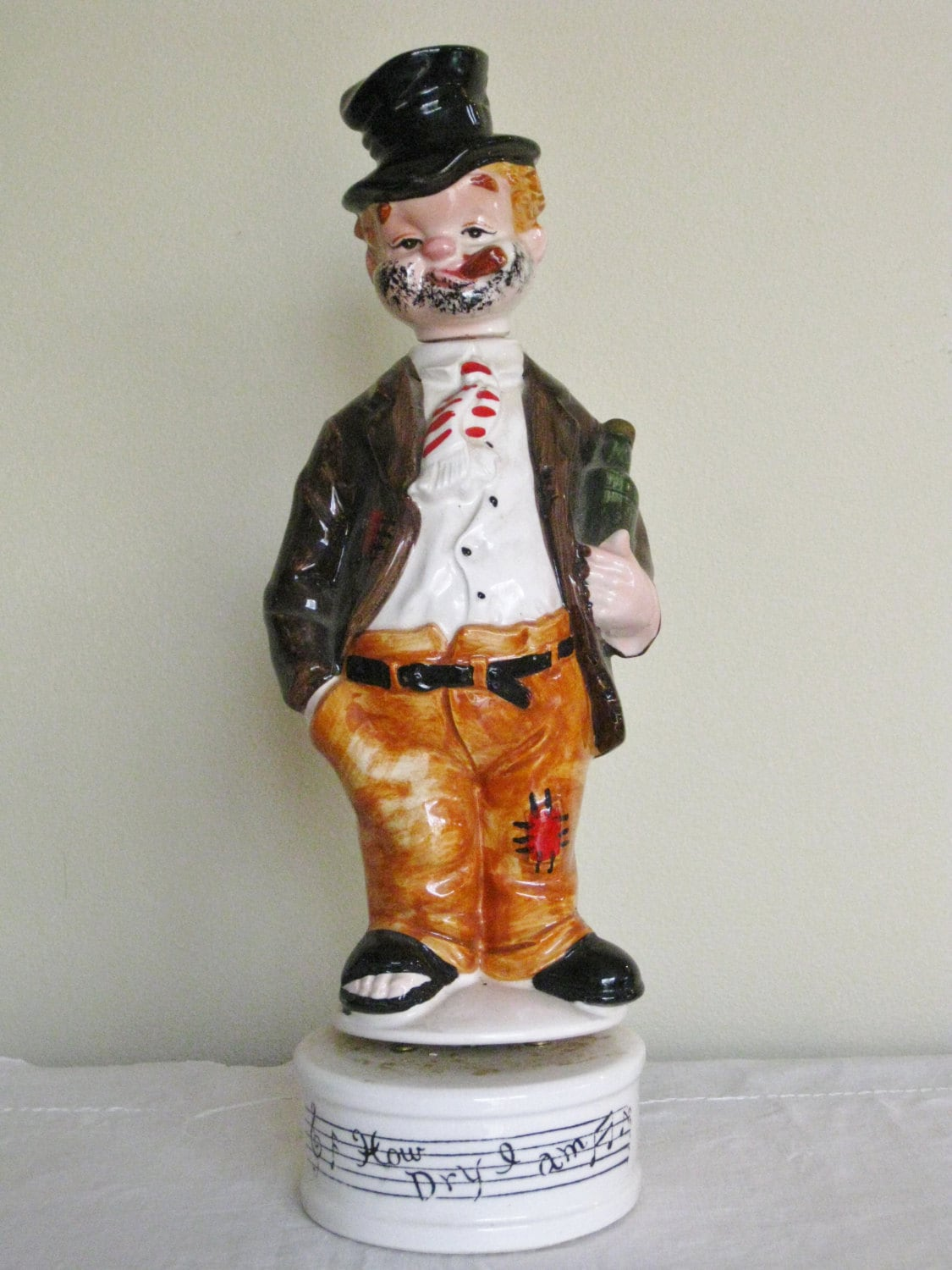 1950s Figural Liquor Decanter Vintage Ceramic By