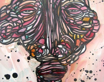 Abstract Figure Outsider Folk Painting Steiner Raw Art