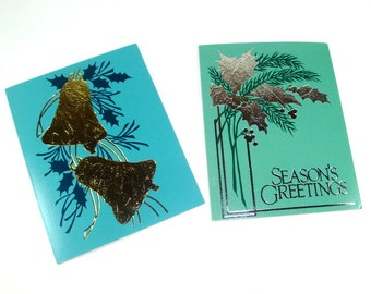 Vintage Christmas Gift Cards, Gold and Silver Metallic, Silver Foil, Seasons Greetings  (144-13)