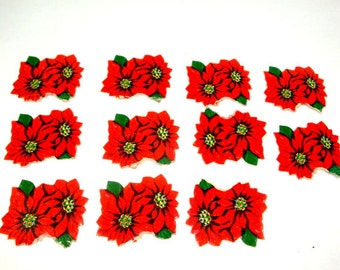 Vintage Poinsettia Christmas Stickers, Holiday Seals, Red Flowers, Package Embellishment, Scrapbook, Set Of 11, Set Two