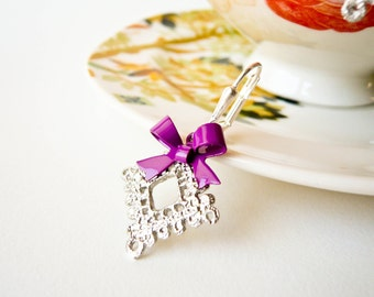 Silver Lace Earrings - Violet - Clearance