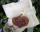 Burlap Ring Bearer Pillow with Personalized Wood Heart Charm - Rustic Eco-Chic for Fairy Tale Outdoor Cottage or Woodland Wedding