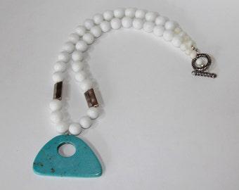 Art Deco Turquoise Pendant Bold Statement  Necklace NB100