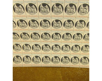 French Alliance - 1978  American Bicentennial Issue 13 Cent Vintage US Postage Stamp - Sheet of 40 Stamps