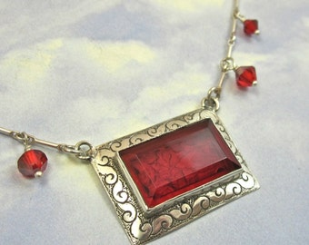 Red Rose Art Deco Vintage Glass Necklace in Sterling Silver Art Deco Jewelry 665