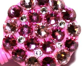 Rose Pink All Swarovski Crystal Embellished ID Badge Reel