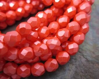 Satin Coral Firepolished 6mm Czech Glass Beads