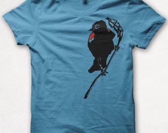 Womens Tshirt, Bird Shirt, Graphic Tee, Redwing Blackbird, Screenprinted - Turquoise