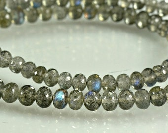 Labradorite  Rondelles  AAA Micro Faceted Labradorite  Gemstone Beads 3-5mm, 8 inches