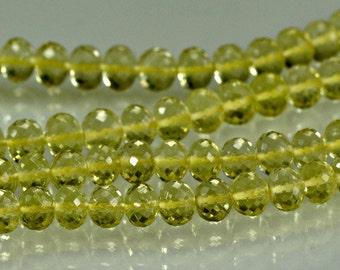 Lemon Quartz Rondelles Yellow AAA Lemon Quartz Gemstone Beads Micro Faceted 4-5mm