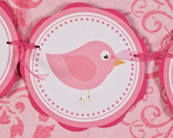 Birdie Themed ITS A GIRL Baby Shower Banner, Bird Baby Shower Decorations Hot & Light Pink