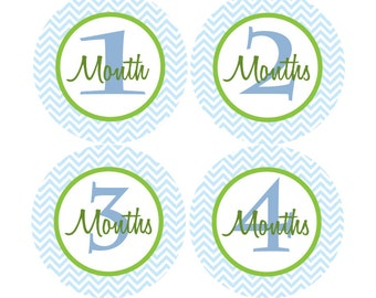 Baby Month Stickers Baby Boy Monthly Stickers Blue Green First Year Month Stickers Baby Shower Gift and Photo Prop Craig-T