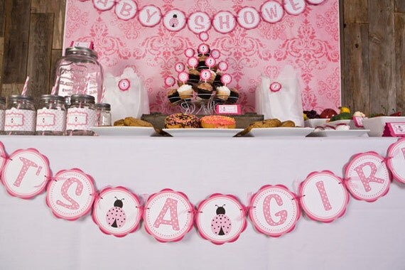 Pink lady bug baby shower