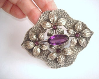 Sash Brooch Silver Repousse Amethyst Stone