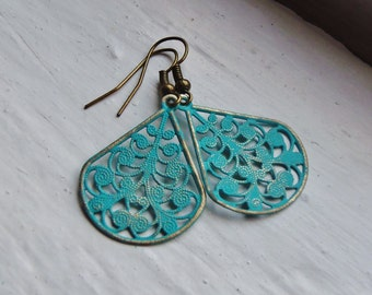 Turquoise Verdigris Earrings. Filigree Earrings. Filigree. Teardrop. Statement Earrings. Vintage Inspired. Statement Jewelry. Bohemian. Boho
