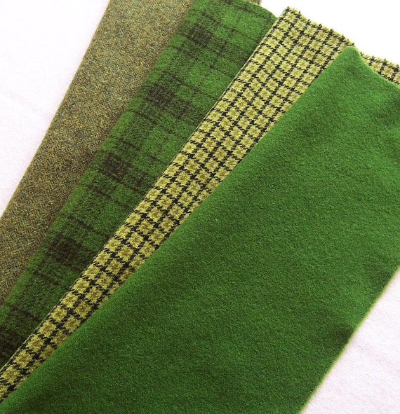 Hand Dyed Wool Fabric Green For Rug Hooking By