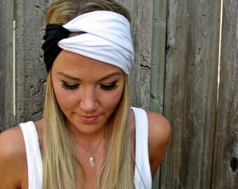 Vintage Turban Style Stretch Jersey Knit Headband Hair Band Accessory Woman Girl Workout Yoga Fashion Black White Customize Turband Scarf