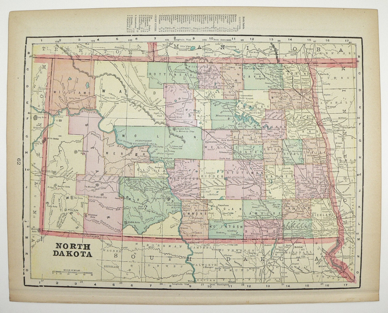North Dakota Map Minnesota Map 1900 State County Map Antique