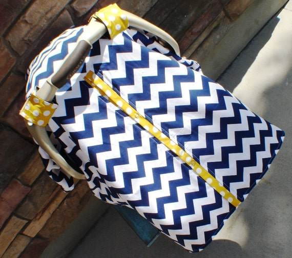 Carseat CAnopy Mustard Yellow And Navy Blue  / Car seat cover / car seat canopy / carseat cover / carseat canopy / nursing cover