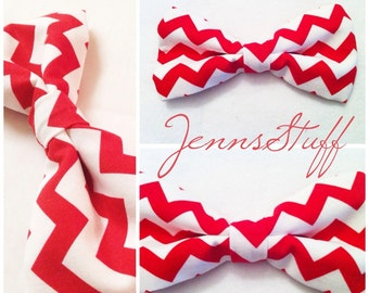 Large Hair Bow - Red and White Chevron