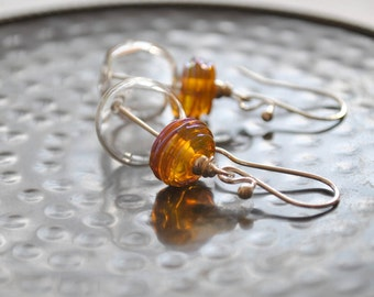 Golden Hollow Glass Earrings