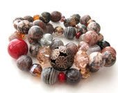 Chocolates and Rubies Bracelet Set with gemstones, crystals and antiqued copper flower breads