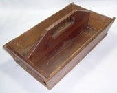 Antique Wooden Box with Handle Work Box from Gastonia NC Cotton Mill carryall - GypsumMoonVintage