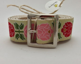 Big Blooms in Butter Ribbon Belts with Pin Buckle