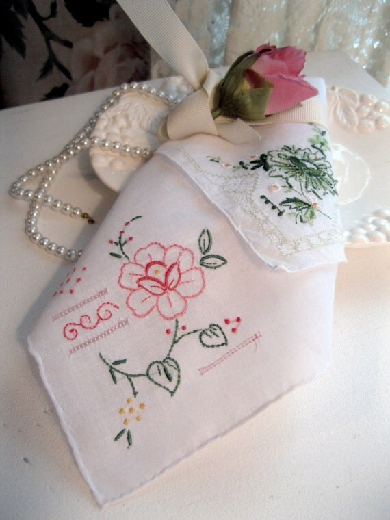 Embroidered hankies handkerchiefs bridal by