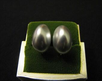 Vintage Silvery Blue Faux Pearl Clip Earrings