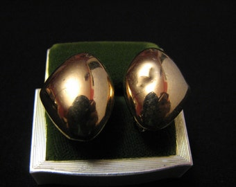 Vintage Napier Puffy Gold Tone Dome Clip Earrings