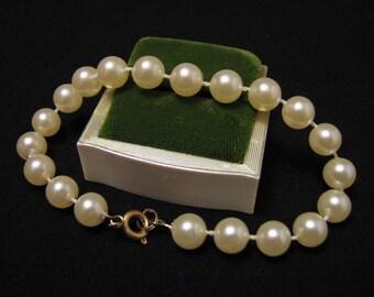 Vintage White Faux Pearl Beaded Bracelet