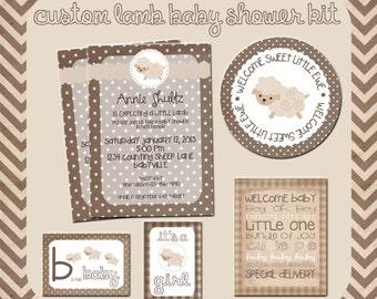 Lamb Baby Shower Printable Kit, Custom