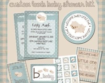 Custom Lamb Baby Boy Shower Printable Kit